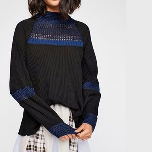NWT Free People Snow Day Thermal Top Tunic Black